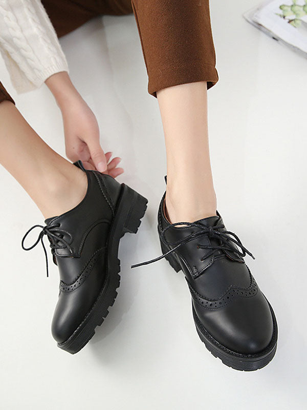 Spring and Autumn British Wind Work Small Leather Shoes Retro Shallow Mouth Single Shoes Flat Bottom Broker Women's Shoes College Wind Plus Velvet