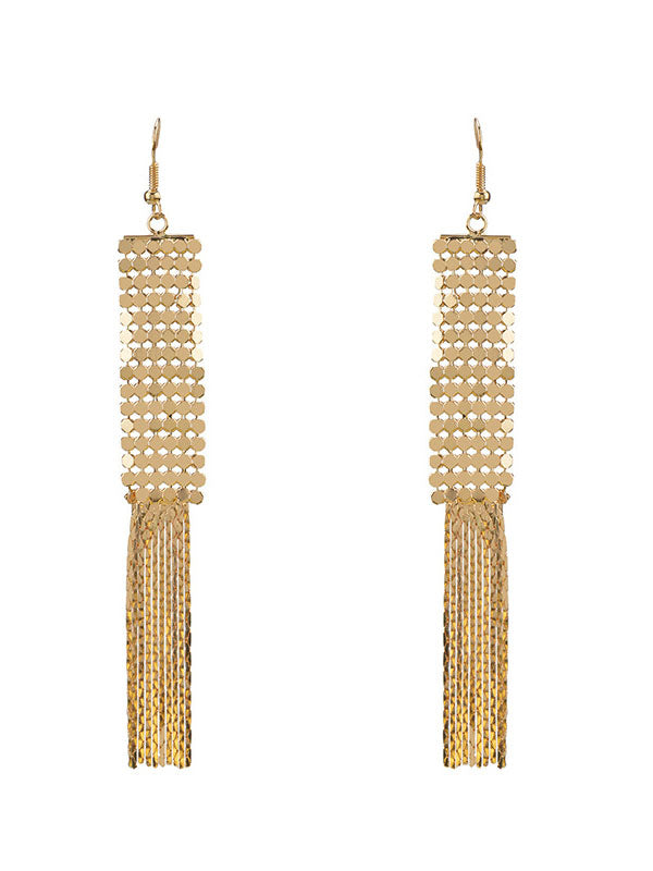 Alloy Tassel Earrings Temperament Exaggerated Personality Long Gold Earrings Fashion Street Shoot Popular Jewelry