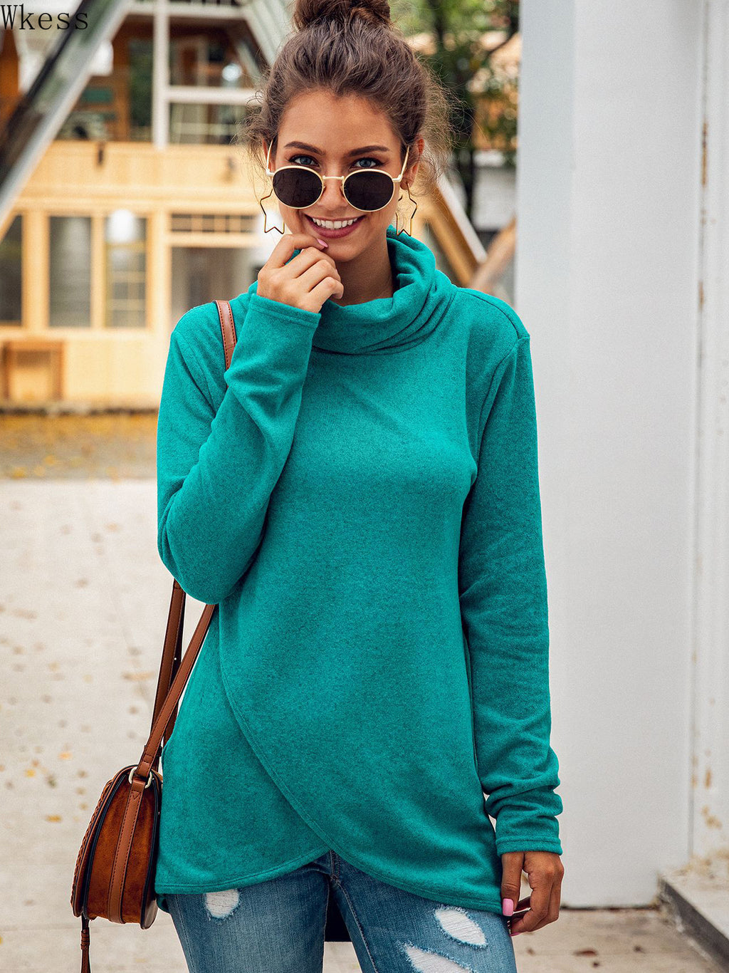 Fashion Turtleneck Long Sleeve Irregular Women's Sweatshirt