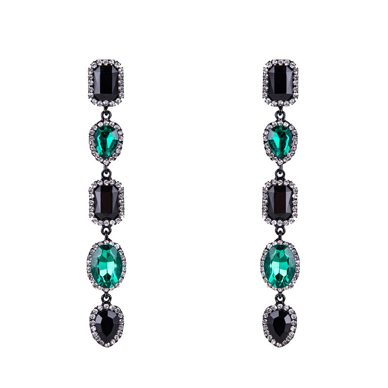 Fashion Long Inlaid Gemstone Female Earrings Creative Style Wild Earrings