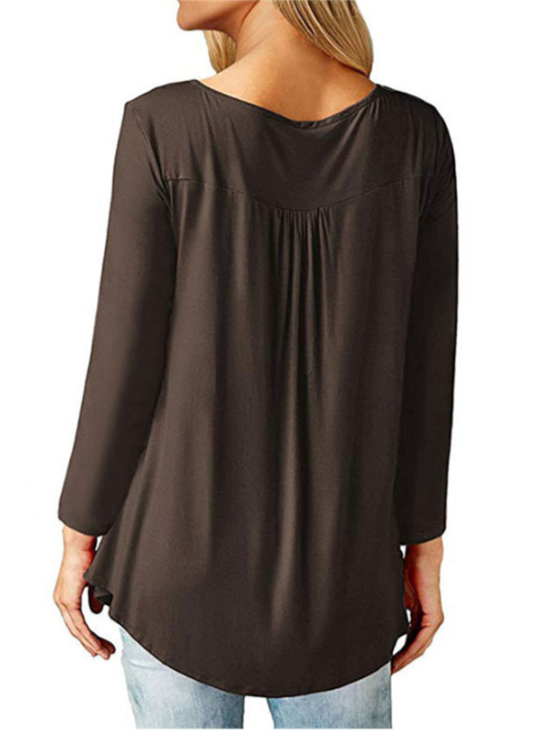 Pleated Button Loose Solid Color Women's V-Neck Long Sleeve T-Shirt