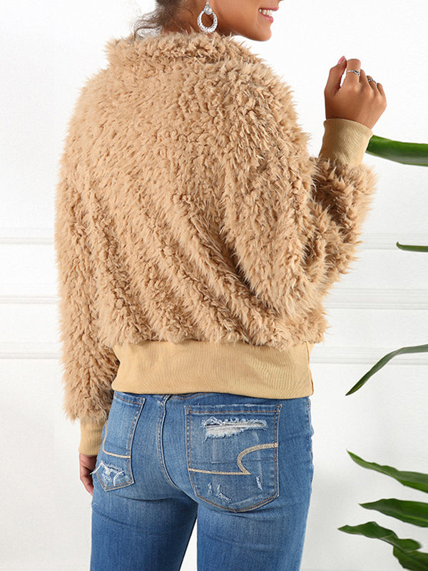 Short Lapel Faux Fur Coat Warm Plush Top