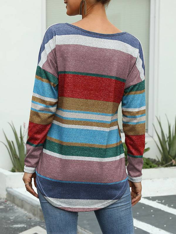 Multicolor Striped Print Round Neck Long Sleeve Slim T-Shirt Top