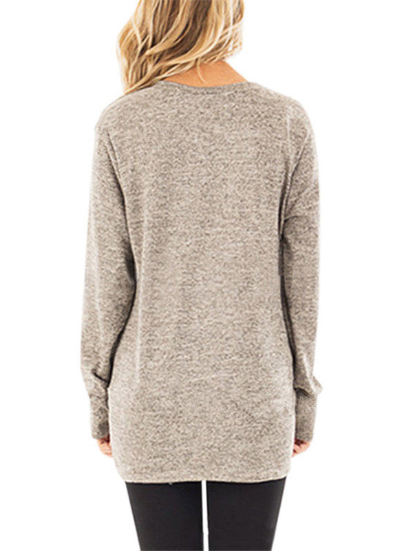 Fall Clothes for Women Long Sleeve T-shirt Casual Solid Color Top