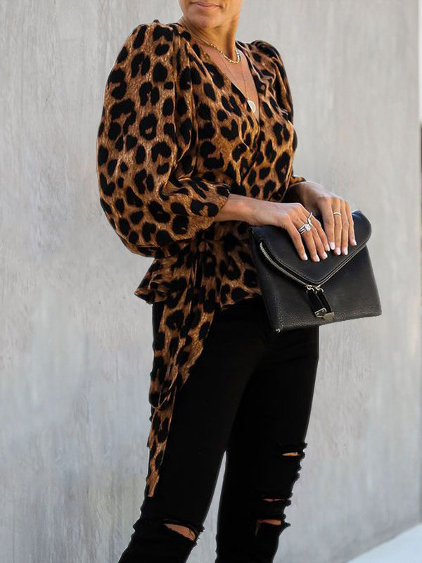 Leopard Print Long Sleeve Shirt Top