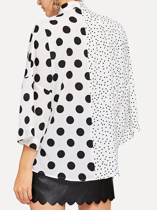 Lace-up V-neck Asymmetric Patchwork Polka-dot Shirt