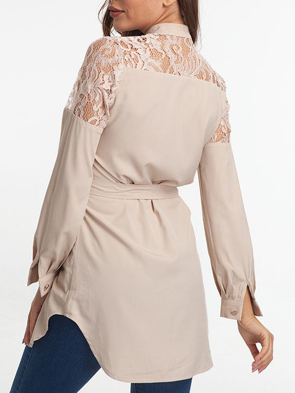 Lace Shoulder Cardigan Dress