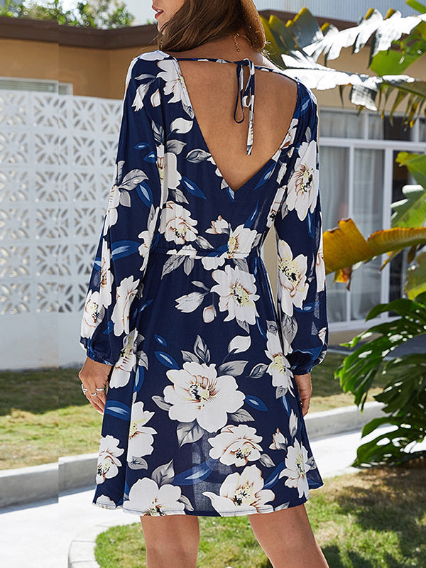 Printed Dress V-neck Sexy Backless Long Sleeve Ladies Dress