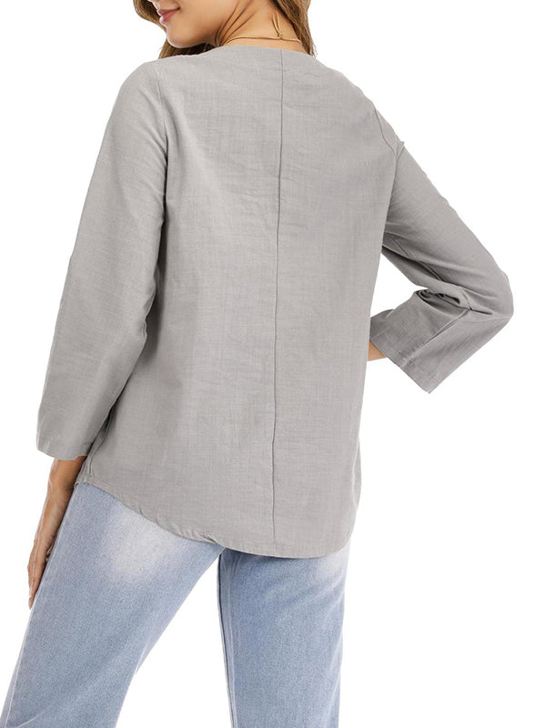 Women's Loose Cotton Long-sleeved Shirt