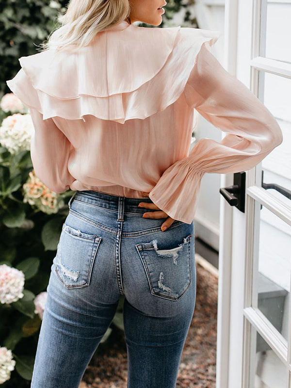 Solid Color Butterfly Ruffle Stitching Long Sleeve Shirt