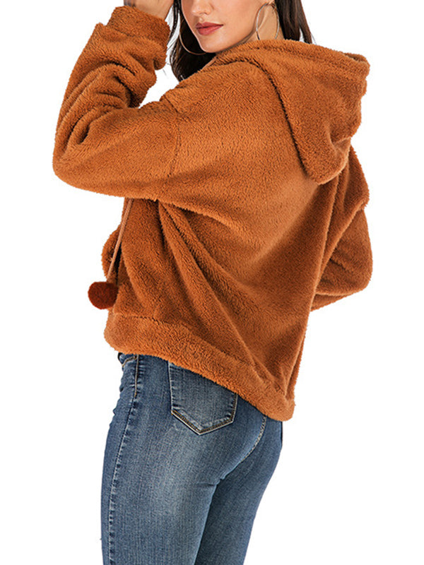 Casual Fleece Coat Solid Color Loose Hooded Coat
