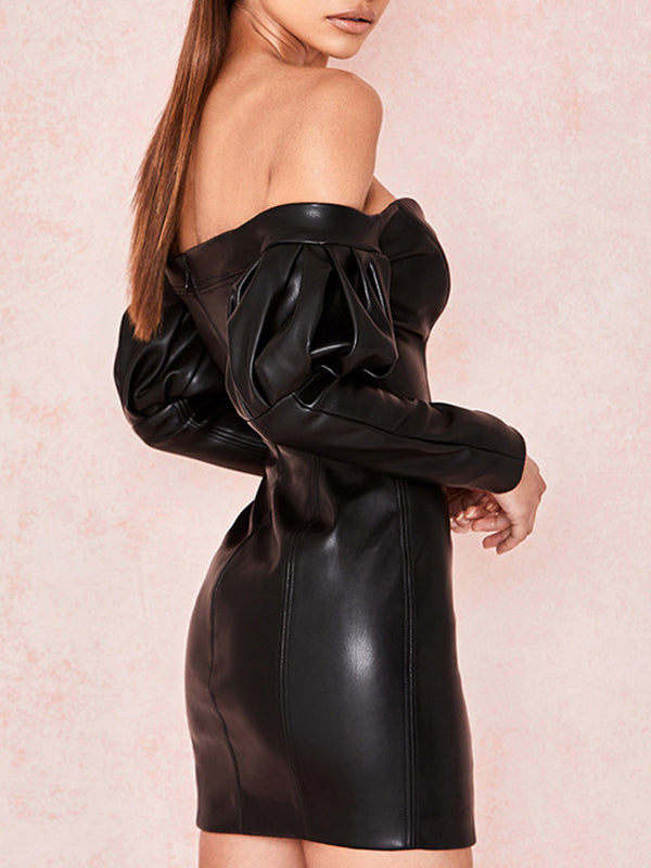 PU Leather Back Zip Wrap Chest V Sexy Hip Dress