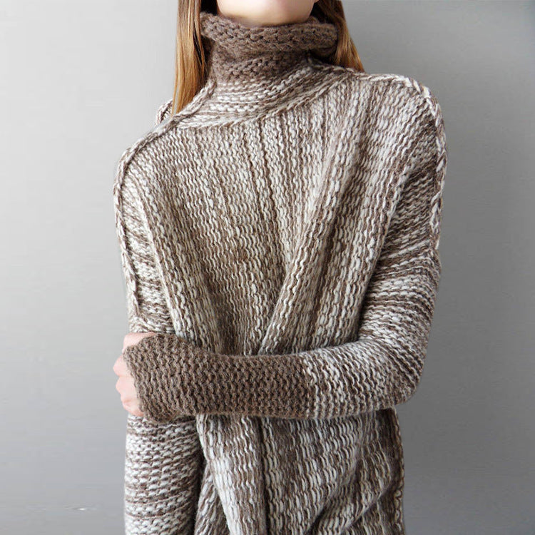 Loose Large Size Long Color Contrast Turtleneck Sweater