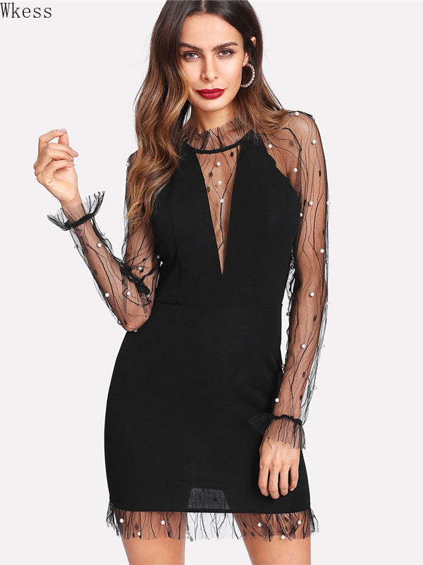 Women's Round Neck Long Sleeve Sexy Party Bodysuit Dress