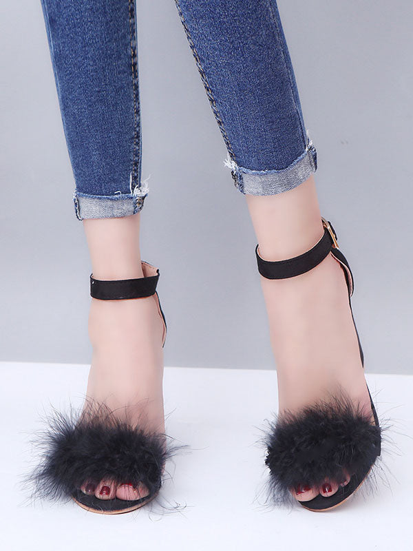 Rabbit Fur Buckle High Heel Sandals Female Fur