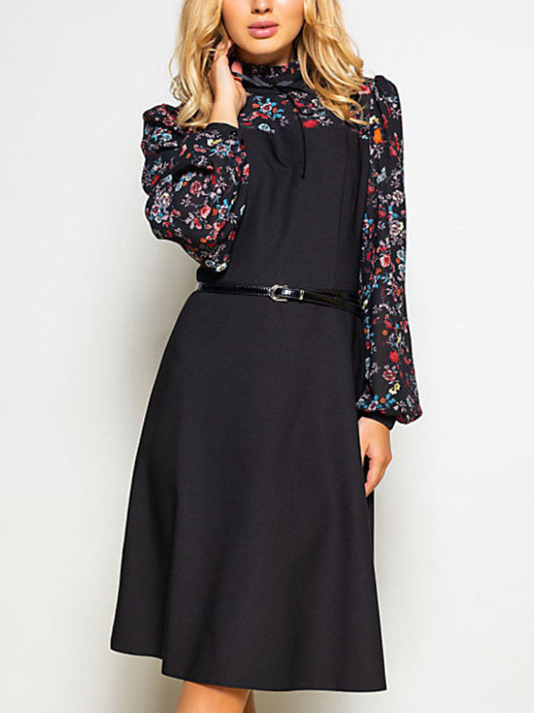 Autumn and Winter Women's Black Long-sleeved Printed Dress Retro Elegant Dress