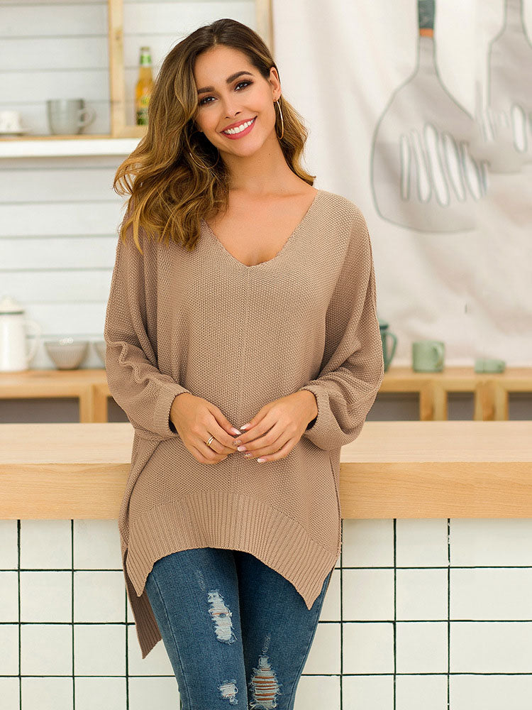 Autumn and Winter Sweater Women's Three-color Loose Sweater Loose Long Sweater