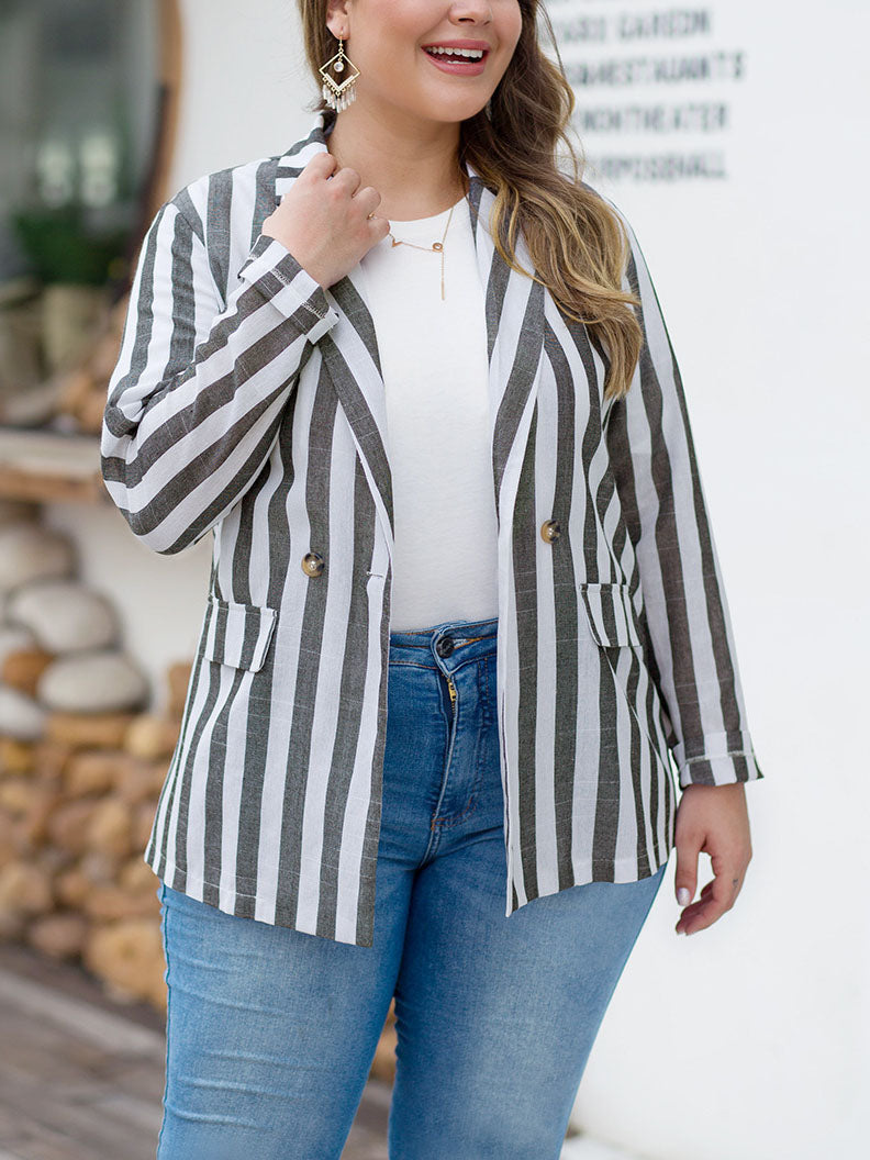 British Style Loose Striped Large Size Casual Blazer