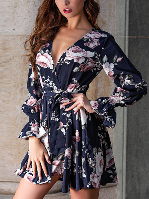 New Printed V-neck Long-sleeved Casual Dress