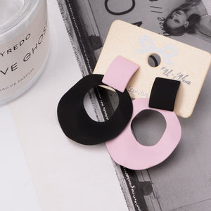 Fashion Creative Geometric Asymmetric Earrings Personality Exaggerated Disc Pendant Earrings