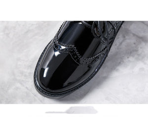 British Wind Boots Leather Shoes Women Autumn and Winter Patent Leather Single Shoes Bullock Tie College Work Shoes Black Small Shoes