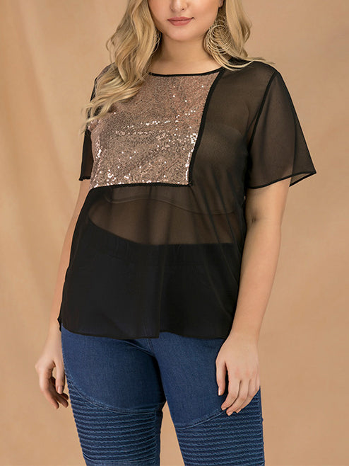 Plus Size Sequined Stitching Short-sleeved Chiffon T-shirt