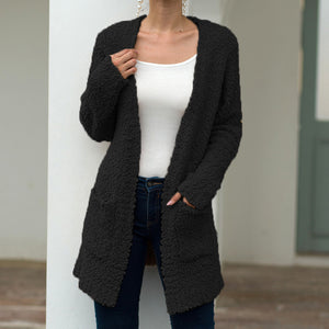Long Solid Color Sweater Cardigan