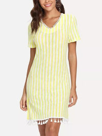 V-neck Short-sleeved Slim Striped Fringe Dress