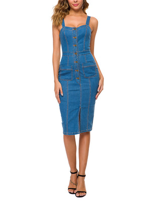 Strap Bag Hips Button Slim Long Denim Dress