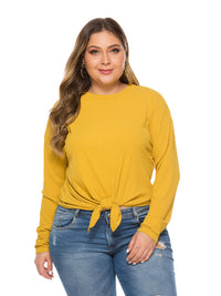 Autumn Hem with Solid Long-sleeved Loose Knit Top