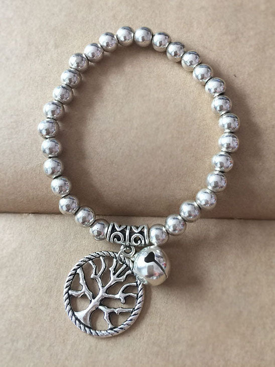 Ancient Silver Tibetan Beaded Bracelet National Wind Auspicious Pendant Elastic Rope Bracelet