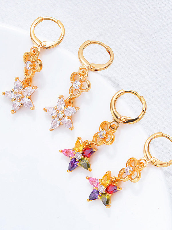 Individual Geometric Five-pointed Star Zircon Earrings