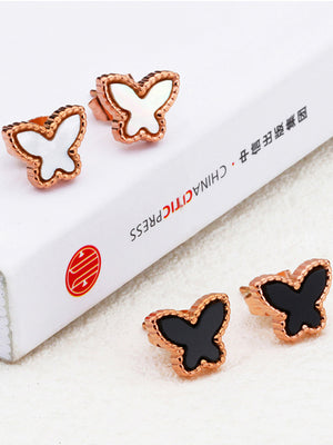 Simple Butterfly Earrings Titanium Steel Rose Gold Color Gold Earrings