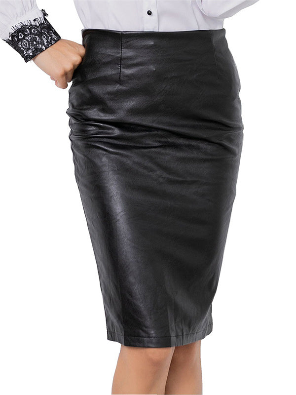 High-waist Fashion Split PU Leather Skirt