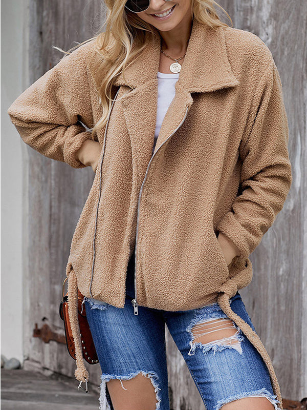 Solid Color Zipper Slim Long-sleeved Woolen Coat
