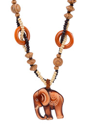 Fashion Accessories Sweet Wild Small Fragrance Wood Long Necklace Clothes Small Elephant Pendant Female Jewelry Ornaments