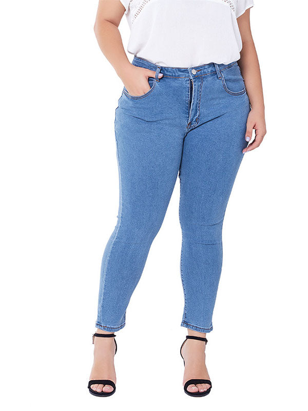 Large Size Jeans Female Stretch Washed Slim Ladies Jeans