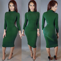 Spring, Summer, Autumn and Winter Long-sleeved Sexy Women's Nightclub Solid Color Dress