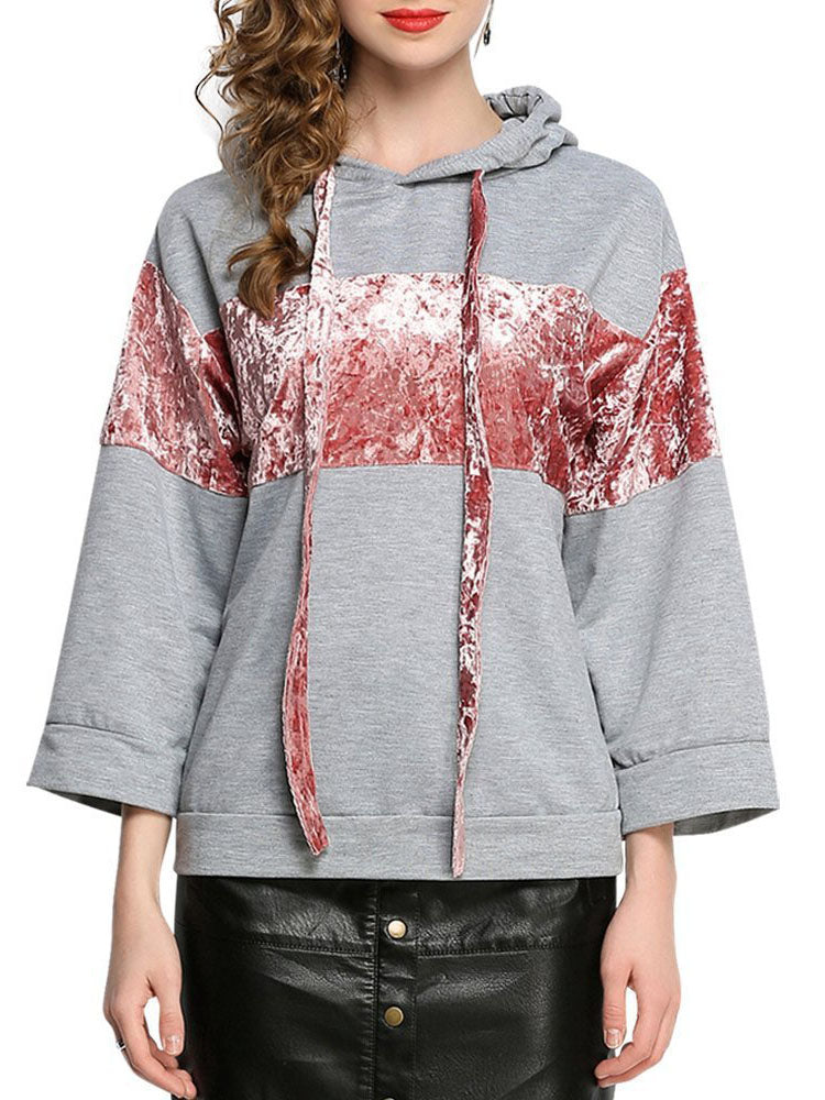 Velvet Stitching Hooded Pullover Sweater Top