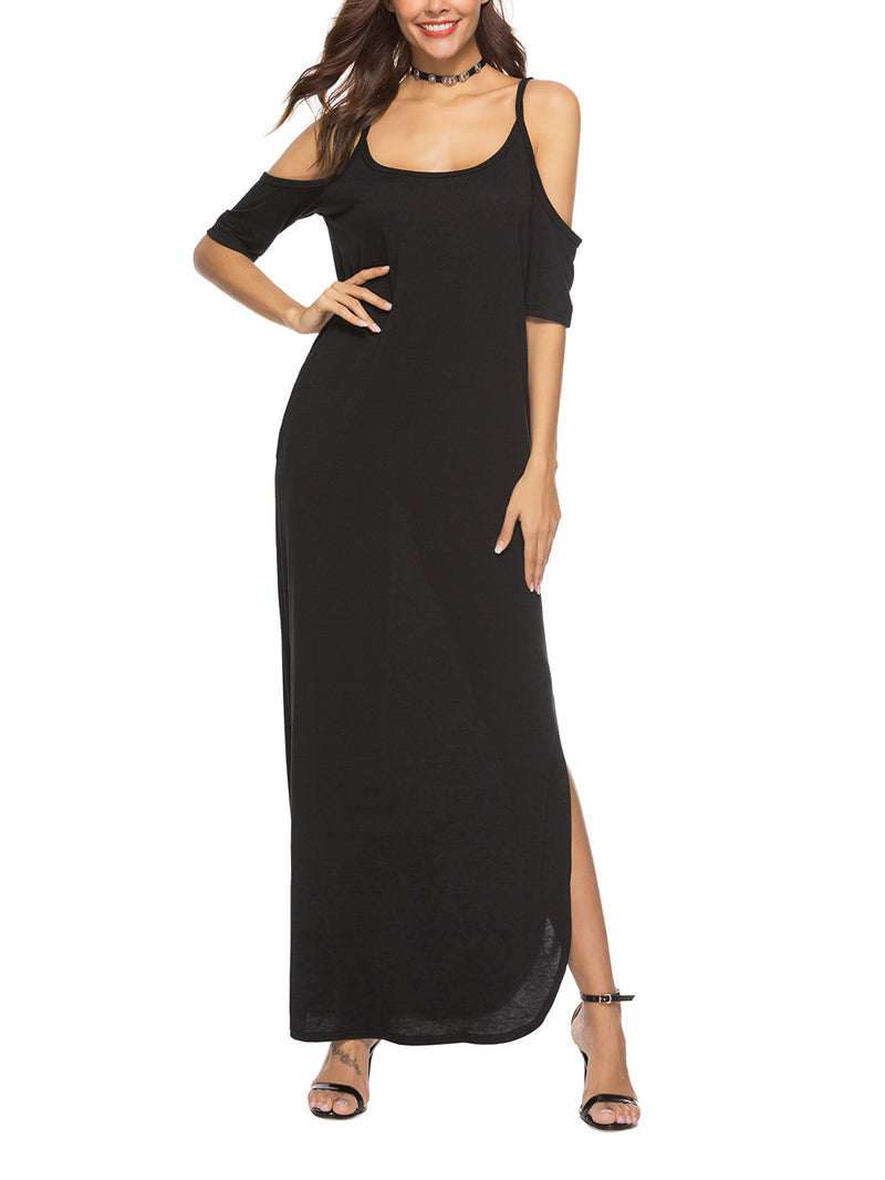 Fashion Black Sling Sexy Maxi Dress