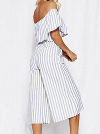 Fashion Word Collar Ruffled Striped Jumpsuit