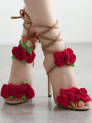 Summer Rose Cross Lace High Heel Sandals