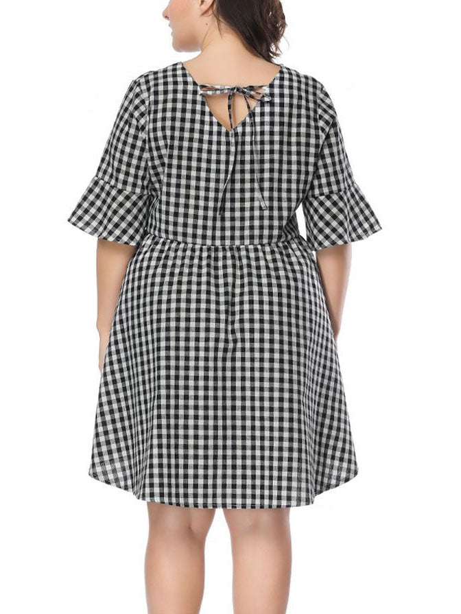 XL Plaid Trumpet Sleeve Loose Dress Fat Sister