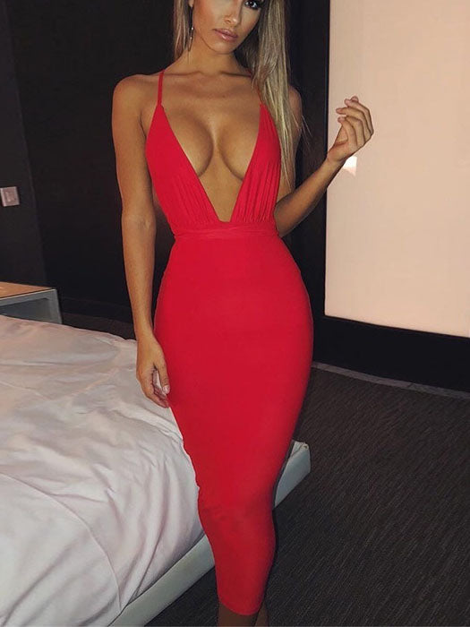New Sling Deep V-neck Sexy Ladies Dress