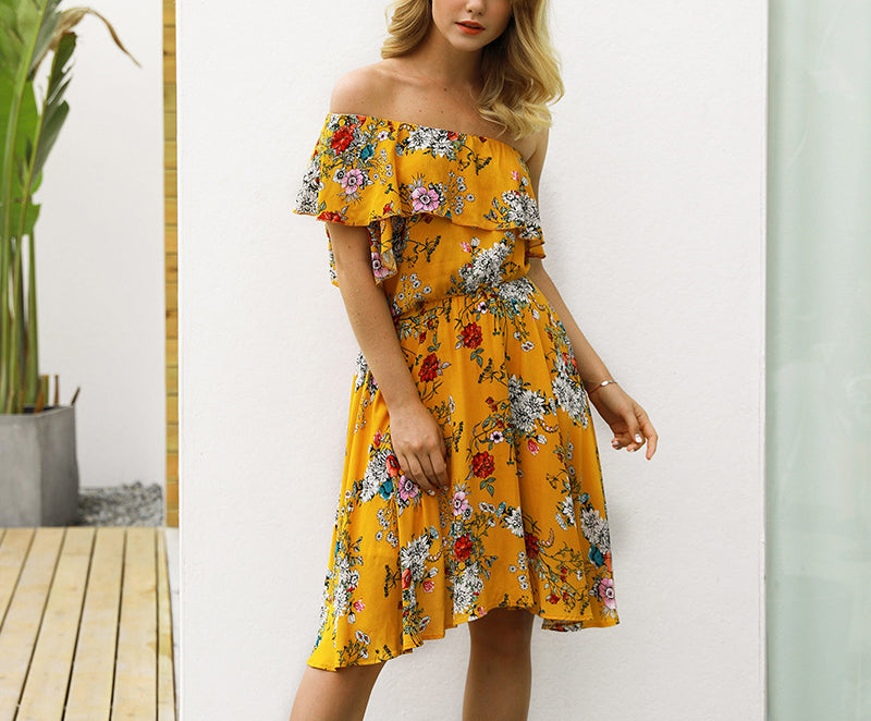New Bohemian Printed Braised High Waist Dress