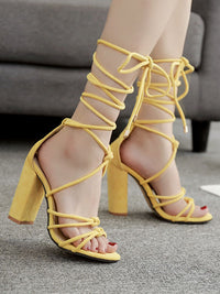 Summer Fish Mouth Cross Strap Sexy Thick High Heel Sandals