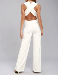 Sexy V-neck Sleeveless Halter Jumpsuit
