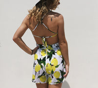 Sexy Sling Mango Print Bandage Bow Holiday Jumpsuit Shorts
