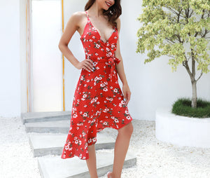 Chiffon Print Sexy Halter Dress