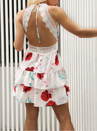 Lace Sling Sexy Beach Dress Seaside Holiday Print Dress